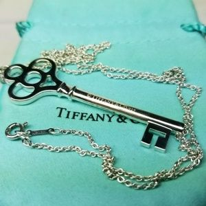 "Tiffany &Co 2.5"" crown key pendant with chain"